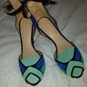 Zara Blue and Teal Suede Shoes
